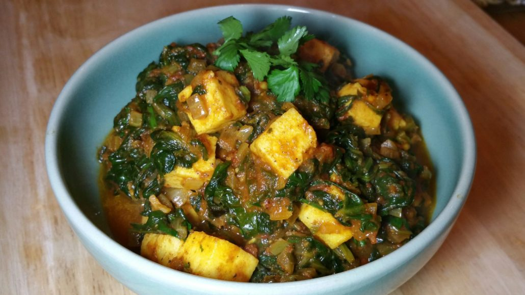 cheese and spinach curry